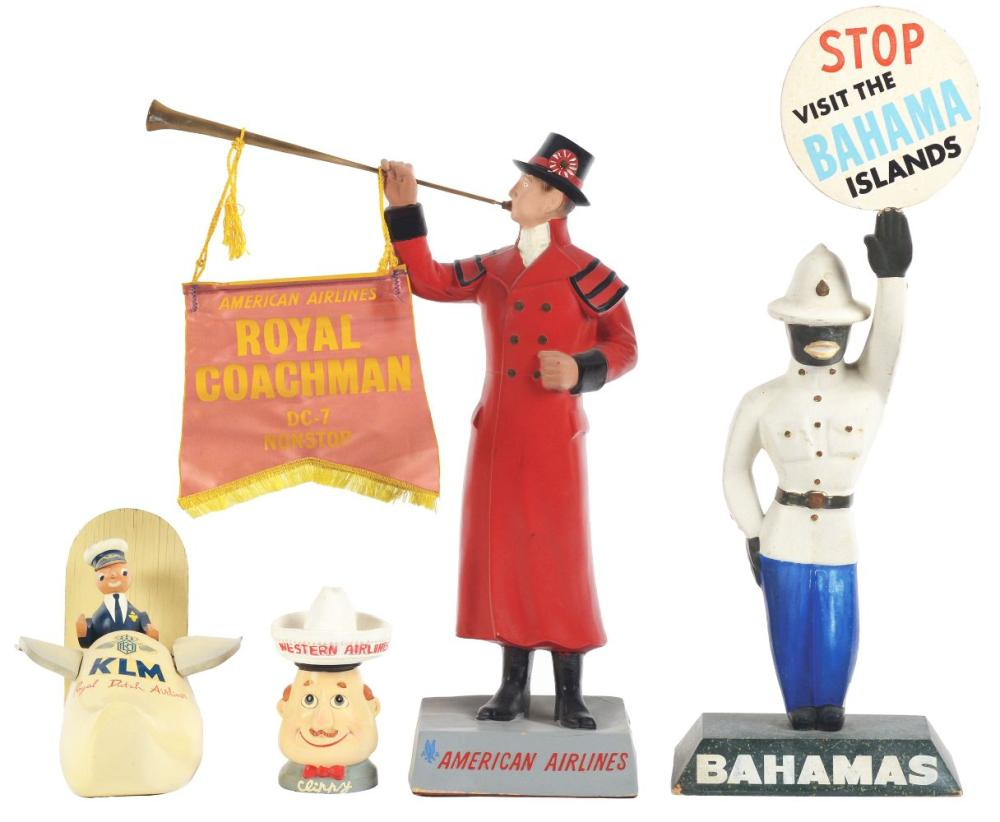 Lot 2616: Lot of 4: Advertising Figures - American Airlines, KLM, Western, Bahama Islands.