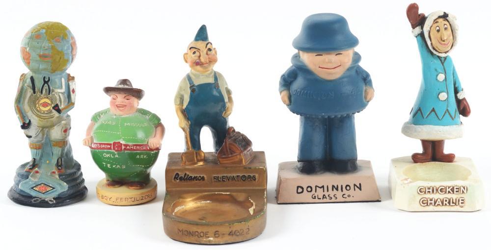 Lot 2618: Lot of 5: Advertising Figures - Reliance, Big Boy Fertilizers, Diamond Edge, Chicken Charlie, Dominion.
