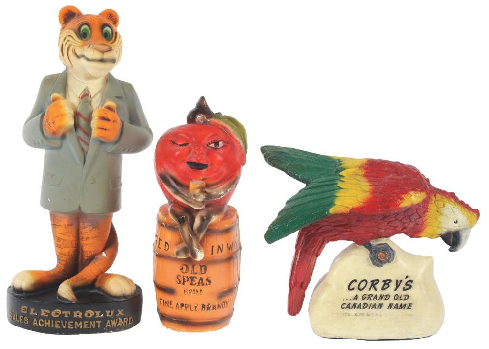 Lot 2626: Lot of 3: Advertising Figures - Old Speas, Corby's, Electrolux.
