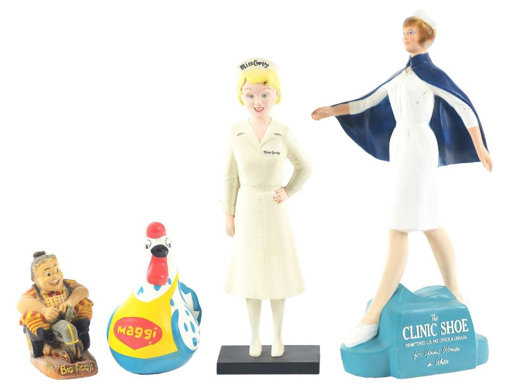 Lot 2631: Lot of 4: Advertising Figures - Maggie, Big Aggie, Miss Curity, The Clinic Shoe.