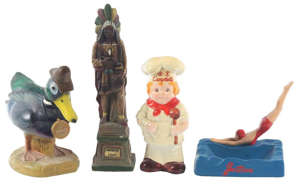 Lot 2640: Lot of 4: Advertising Figures - Admiration, Campbell's, Jantzen, Thirsty.