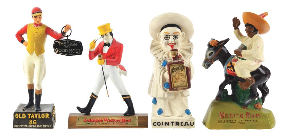 Lot 2633: Lot of 4: Advertising Figures - Cointreau, Johnnie Walker, Old Taylor, Merito Rum.