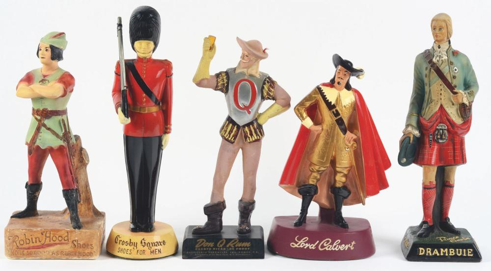 Lot 2637: Lot of 5: Advertising Figures - Robin Hood, Crosby Square, Drambuie, Lord Calvert, Don Rum.