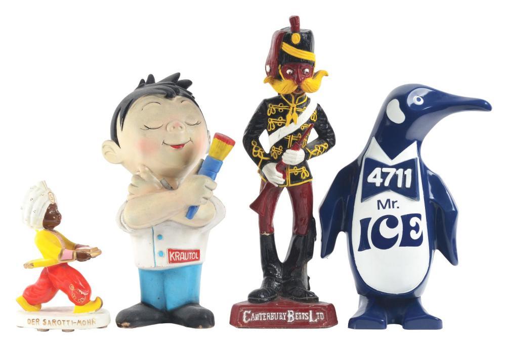 Lot 2630: Lot of 4: Advertising Figures - Der Sarotti-Mohr, Mr. Ice, Krautol, Canterbury Belts.