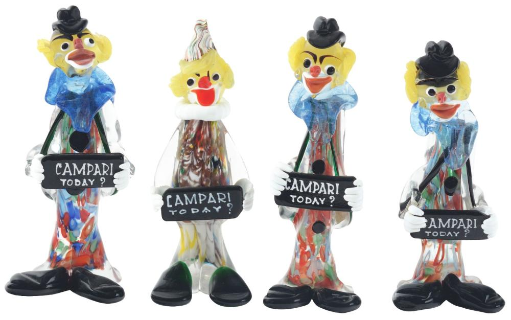 Lot 2636: Lot of 4: Glass Campari Advertising Figures.