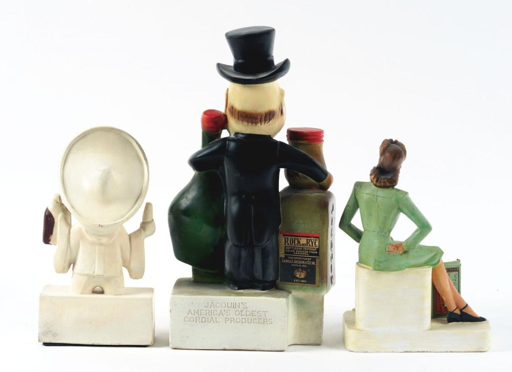 Lot 2642: Lot of 3: Advertising Figures - Cointreau, Wild Woodbine, Jacquin's.