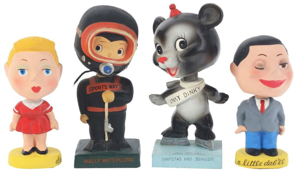 Lot 2656: Lot of 4: Nodding Advertising Figures - A Little Dab'll, Do Ya, Sports Ways, Inky Dinky.