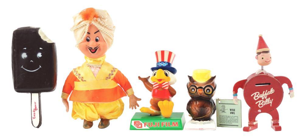 Lot 2677: Lot of 5: Advertising Figures - Wise Owl, Fuji Film, Mr. Nabob, Good Humor, Buffalo Billy.