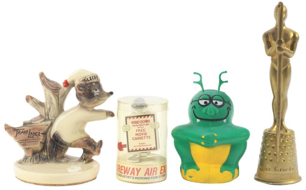 Lot 2682: Lot of 4: Advertising Figures - Sureway, Bug, Travelodge, Gingiss.