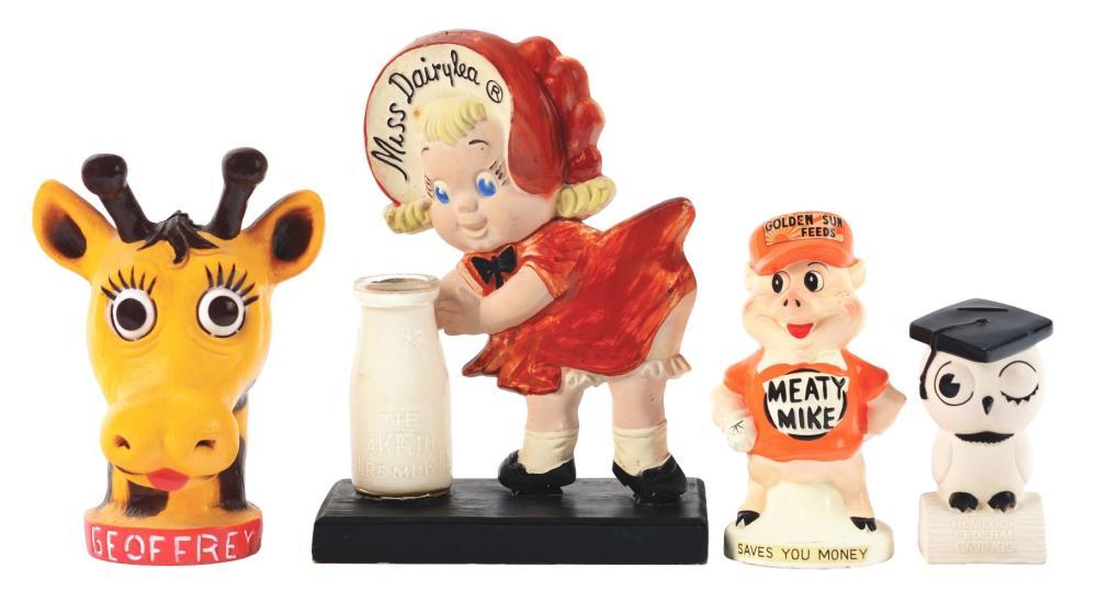 Lot 2675: Lot of 4: Advertising Figures - Miss Dairylea, Meaty Mike, Hemlock, Geoffrey.