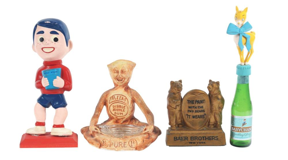 Lot 2688: Lot of 4: Advertising Figures - Baer Brothers, Fleers, Chilly Willee, Baby Cham.