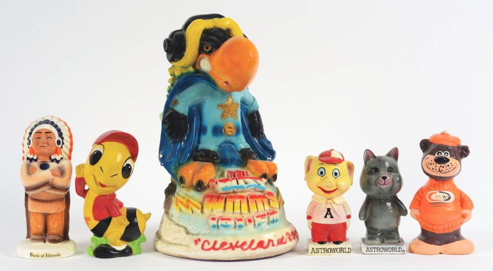 Lot 2691: Lot of 6: Advertising Figures - 2 Astroworld, A&W, Albuquerque, Bank of IL, 101 FM.