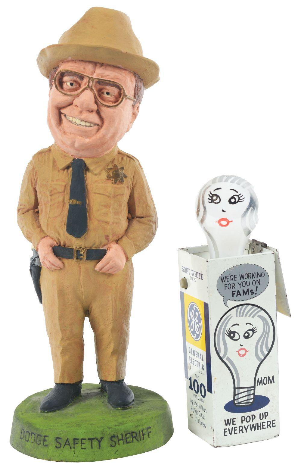 Lot 2700: Lot of 2: Advertising Figures - General Electric, Dodge Safety Sheriff.