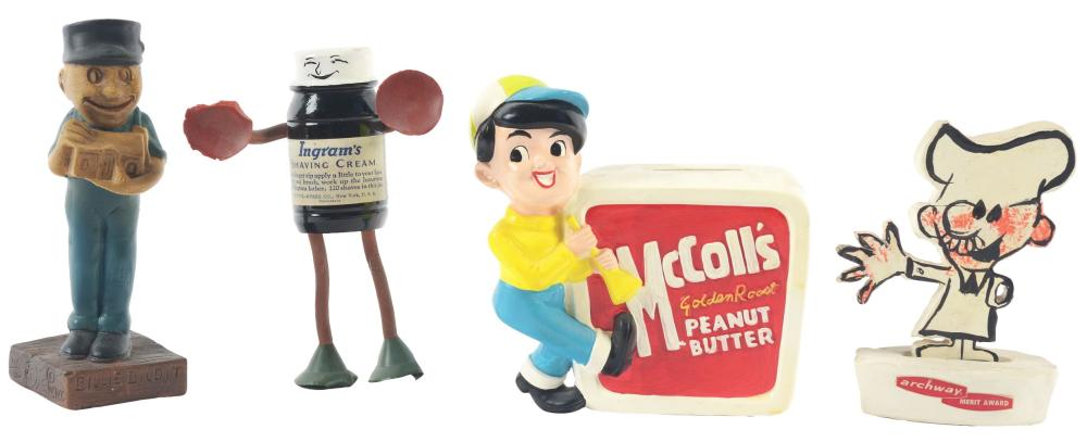 Lot 2698: Lot of 4: Advertising Figures - McColl's, Archway, Billie Bildit, Ingram's.
