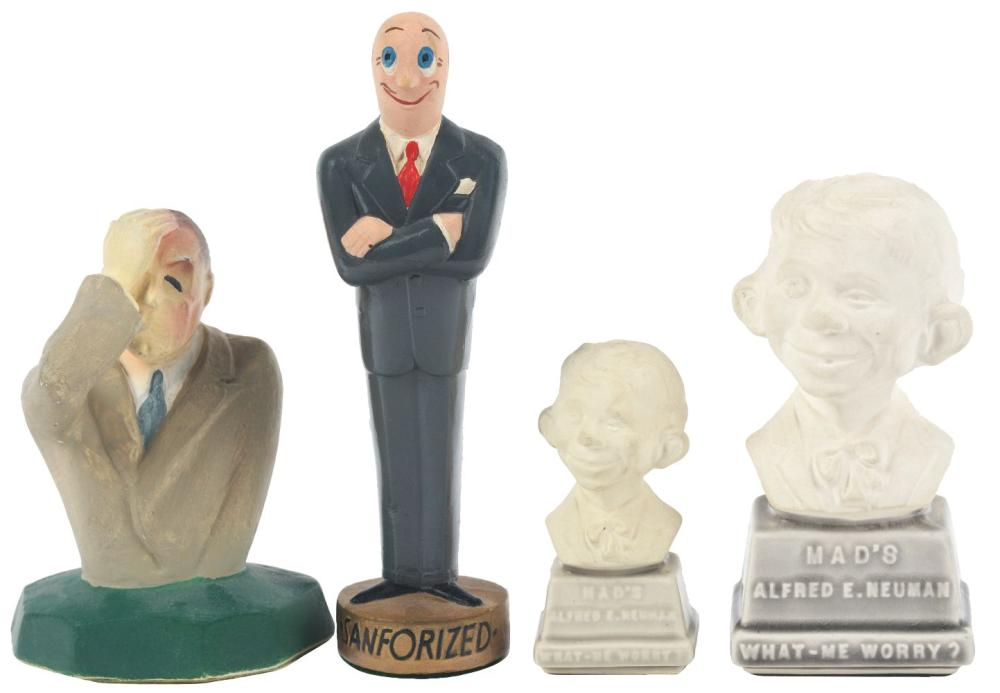 Lot 2702: Lot of 4: Advertising Figures - 2 Alfred E. Neuman, Sanforized, Westinghouse.