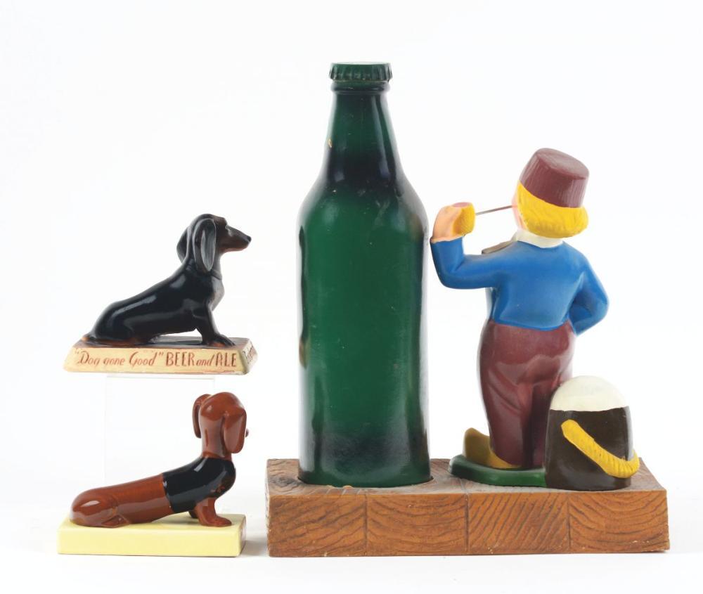 Lot 2712: Lot of 3: Advertising Figures - Heineken, Frankenmuth, Old German.