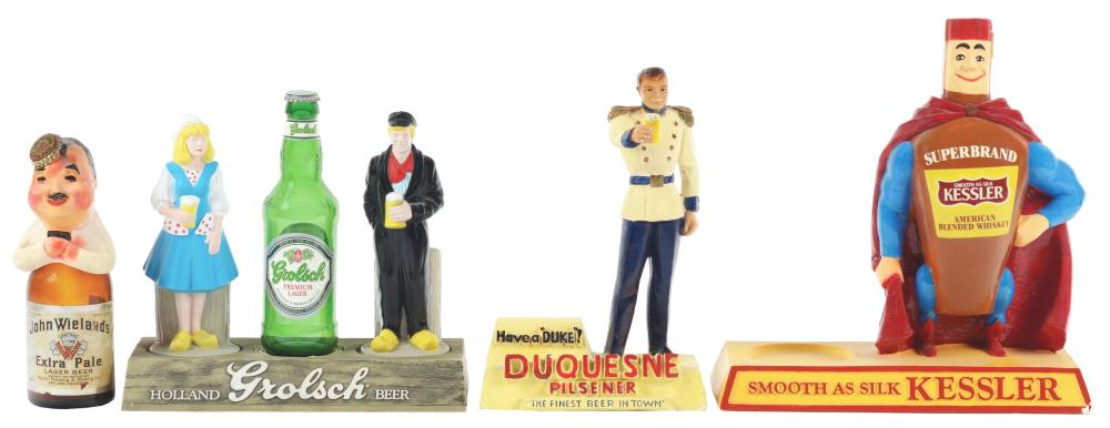 Lot 2711: Lot of 4: Advertising Figures - Kessler, Duquesne, John Wieland's, Grolsch.