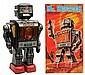Tin Litho Battery-Operated Mr. Hustler Robot.