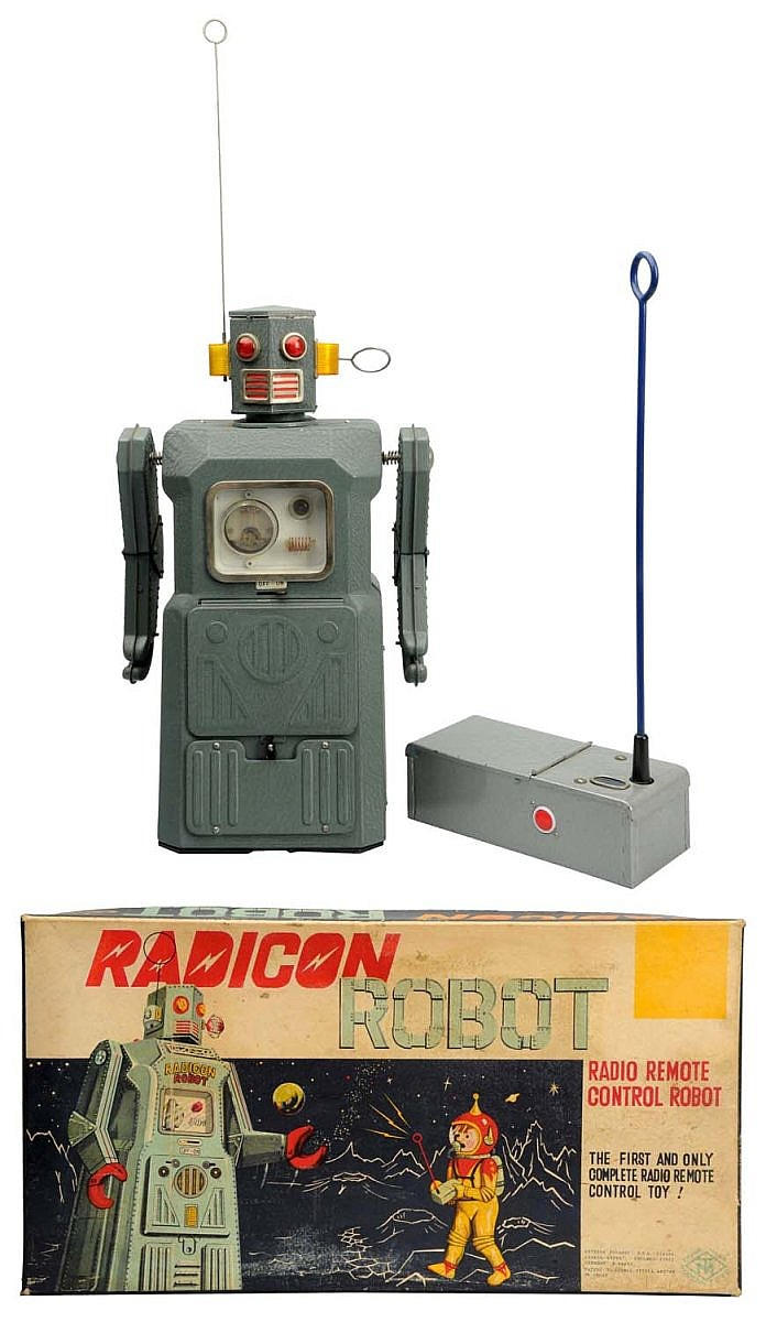 Tin Litho Painted Battery-Operated Radicon Robot.
