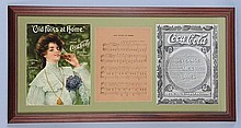 Framed 1909 Coca-Cola Sheet Music.