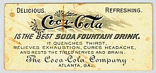 Pre 1900 Coca-Cola Free Drink Coupon.
