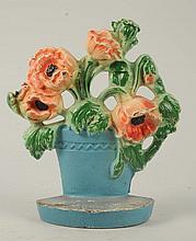 Cast Iron Poppies in Clay Pot Flower Doorstop.