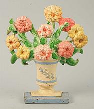 Cast Iron Zinnias Flower Doorstop.