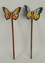 2 Cast Iron Butterfly Plant Stakes Ornaments.