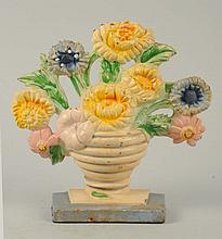 Cast Iron Marigolds Flower Doorstop.