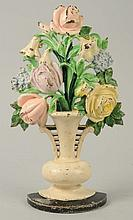 Cast Iron Tulips and Roses Flower Doorstop.