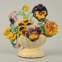 Cast Iron Pansy Bowl Flower Doorstop.
