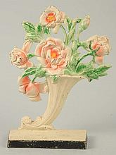 Cast Iron Roses in Slanted Vase Flower Doorstop.