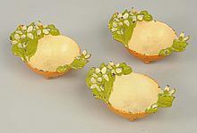 Lot of 3: Cast Iron Orange Nut Dishes.