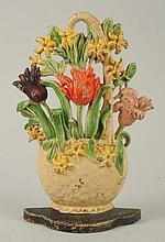 Cast Iron Tulips & Hyacinths Flower Doorstop.