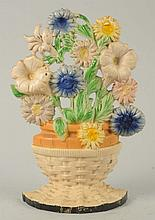 Cast Iron Petunias & Asters Flower Doorstop.