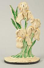 Cast Iron Iris Flower Doorstop.