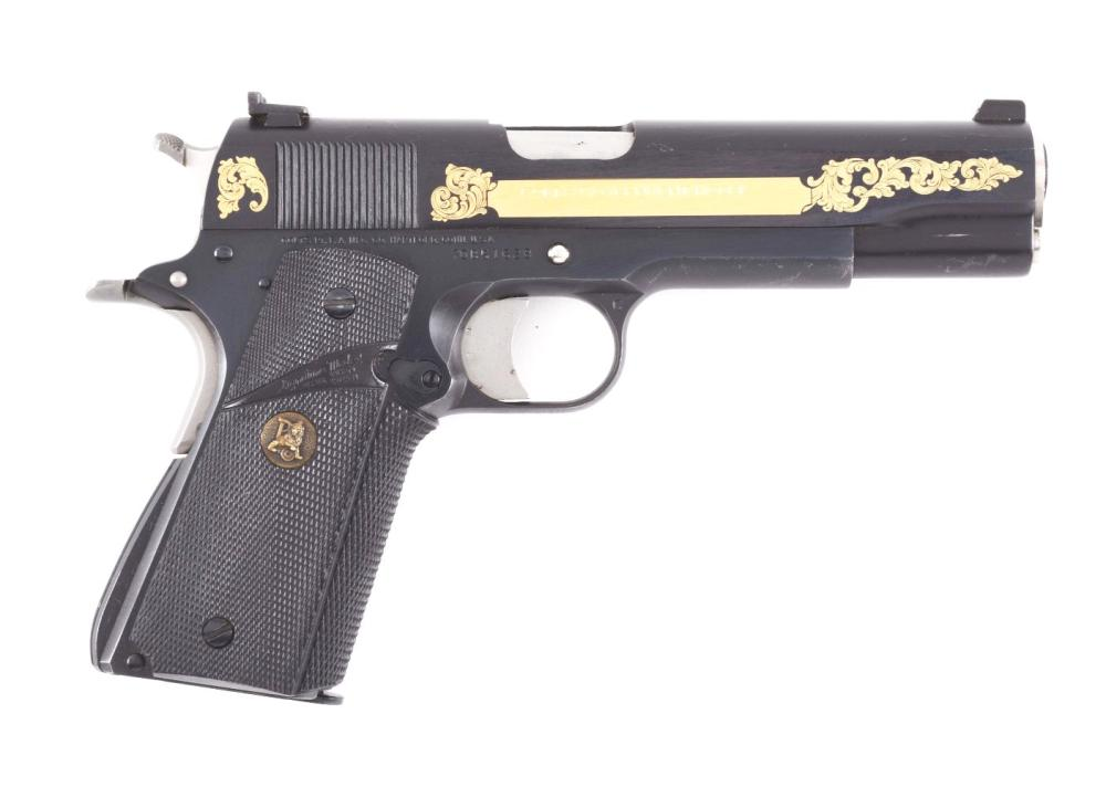 M) GOLD EMBELLISHED COLT 1911A1 SEMI-AUTOMATIC PISTOL WITH