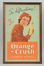 1930s Orange Crush Framed Cardboard Sign.