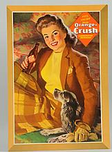 1940s Cardboard Orange Crush Easel Sign.
