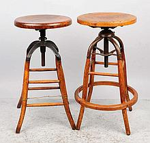 Pair of Adjustable Bar Height Counter Stools.