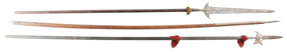 LOT OF 3: THREE ANTIQUE EUROPEAN POLEARMS INCLUDING A LATE 16TH CENTURY PARTISAN.