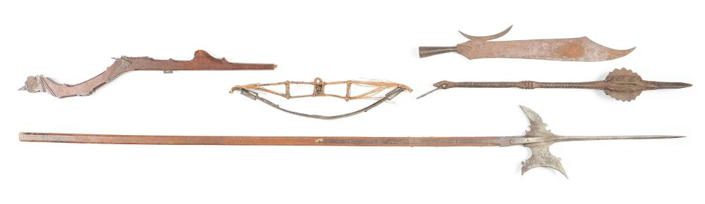 Lot of 4: European Weapons Including A 17th Century Halberd on Shaft, A 17th Century Partially Complete Italian Prod, A Heavy Cast Iron Decorative Mace, and a Detached Fouchard Blade. .