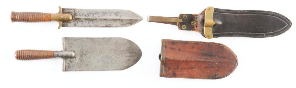 LOT OF 2: INDIAN WARS TROWEL-KNIVES WITH SHEATHS.