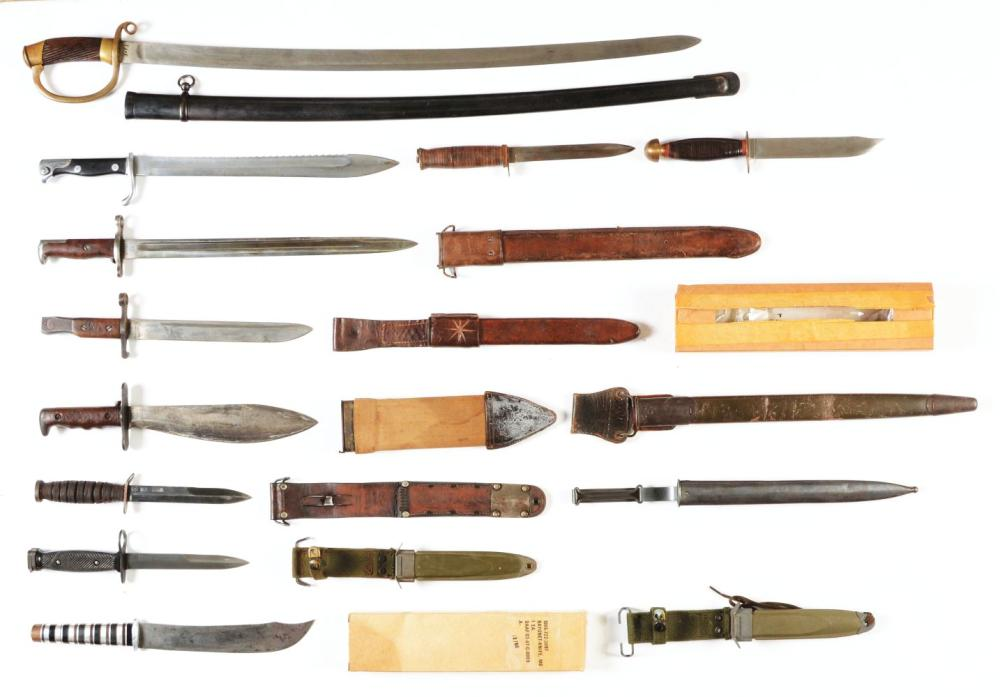 Lot Of 14: Military Bayonets, Knives And Sword.