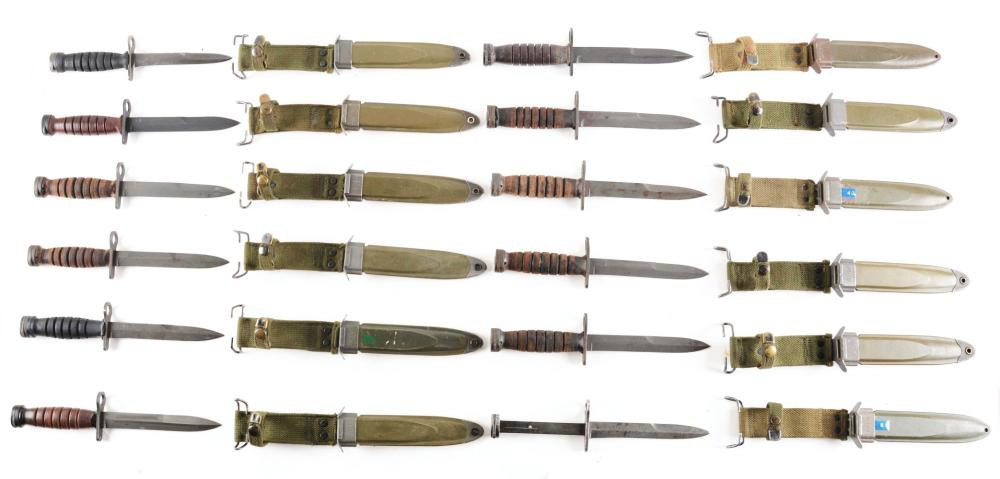 COLLECTORS ASSORTMENT OF US MILITARY M4 BAYONETS FOR THE M1 CARBINE BY VARIOUS MAKERS.