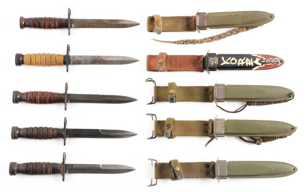 LOT OF 5: ONE M3 BAYONET AND FOUR M4 BAYONETS.