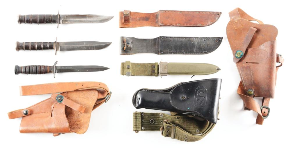 LOT OF 6: THREE U.S. FIGHTING KNIVES AND THREE 1911 HOLSTERS.
