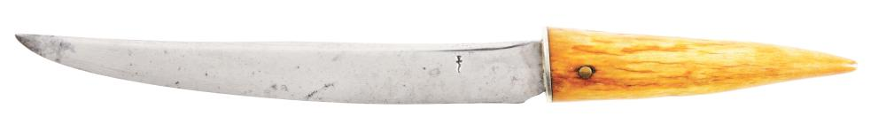 "ELEGANT WILLIAM ""BILL"" SCAGEL FILET KNIFE WITH BROWN TINE STAG HANDLE."