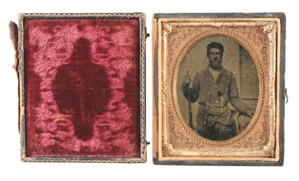 "1/6 PLATE TINTYPE OF ARMED SOLDIER WITH CHEVALIER ""DEATH TO TRAITORS"" BOWIE."