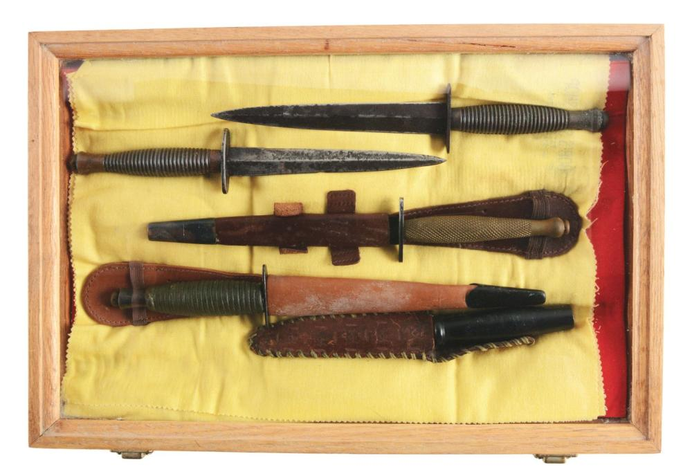 LOT OF 5: FAIBAIRN SYKES AND MILITARY KNIFE ASSORTMENT.